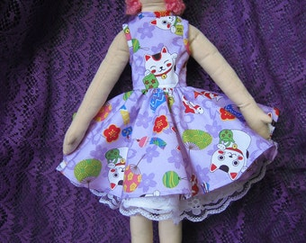 Kawaii Cloth Rag Doll Hand Painted Face