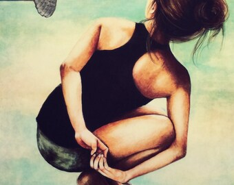 yoga  meditation with owl decor art print