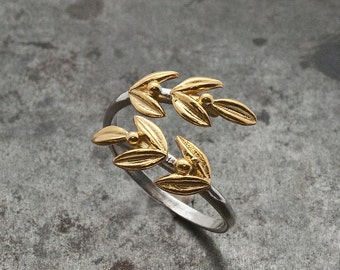 Gold Olive Leaves Ring, Twisted Olive Twig Elegant Ring, Adjustable Handmade Women's Delicate Ring, Goddess Athena Symbol Greek Jewelry