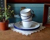 Set of 4 Vintage Blue and White Enamel Metal Mugs and Plates Camping Enamelware