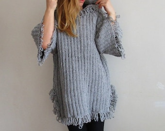 Hand Knitted Hooded Poncho.Hooded Capelet.Fringed Poncho.Hooded Poncho.Grey Winter Capes. Knitted Hoodie Women.Knitted Coat.Winter Fashion.