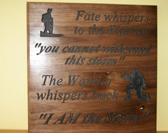 Custom plaque - A Soldier and the Storm