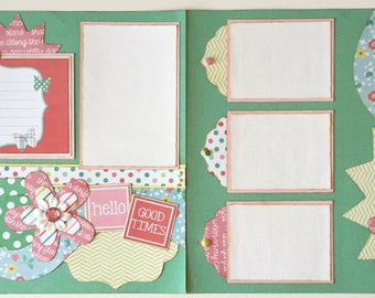 Hello Good Times Premade 2 Page 12x12 Scrapbook Layout
