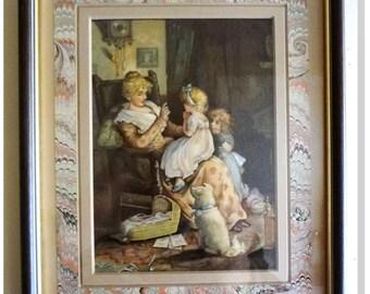 "Lizzie Mack & Robert Mack,"" A Long Time Ago"" E. Nister Nuremberg,1880 Archival Frame"