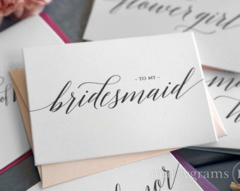 To My Bridesmaid, Matron of Honor, Wedding Party Wedding Thank You Cards- Thank You Bridesman Card, Man of Honor Flower Girl CS13 (Set of 5)