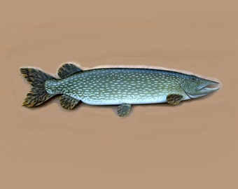 Northern Pike 48 in. wood carving, fish art, sculpture, wood art, wood fish, fishing decor, wall hanging, fishermans gift, lodge/cabin decor