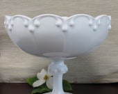 Vintage Milk Glass Compote with Triple Tear Drop - Wedding Decor Centerpiece - Home Decor