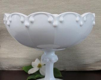 Vintage Milk Glass Compote with Triple Tear Drop - Wedding Decor Centerpiece - Home Decor