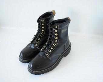 Vintage Texas Steer Black Leather Combat Work Boots Steel Toe, Mens 7 / ITEM111