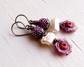 Handmade stacked lampwork glass and pearl bead earrings in rosy pink, cream, coral and purple - Songbead UK, narrative jewellery, bohemian