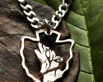 Howling Wolf Arrowhead Necklace, Hand cut coin