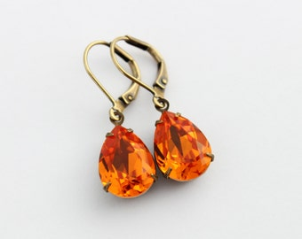 Swarovski Tangerine earrings, small earrings, orange earring, Fall earrings, Bridesmaid earrings, Fall wedding, orange wedding SEST01