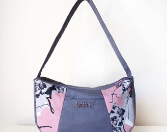 Handbag / Shoulder Bag / Hobo Bag for Women with Pocket and Zipper with One Shoulder Strap in Pink and Grey