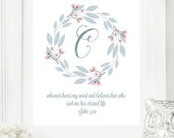 "Instant ""Monogram Scripture"" Wall Art Print 8x10 Typography Letter ""C"" Printable Home Decor"