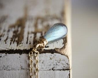 Labradorite Necklace - Blue Fire Flash Gemstone Teardrop Pendant | Gold Necklace Minimalist