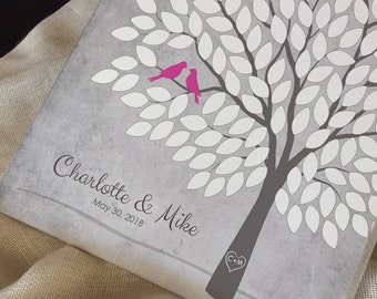 Custom Wedding Tree Guest Book Alternative, Unique Wedding Tree Guest Book, Personalized Love Birds Poster, 50-300 Guests, Canvas or Print