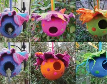 felted bird pod, bird house, ornament, window decoration, handmade, felted wool, MADE TO ORDER