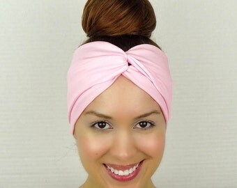 Twist Headband Women's Accessories Pink Turban Headband Pink Turban Head Wrap Women Turban Wide Headband Pink Stretch Headband Yoga Headband