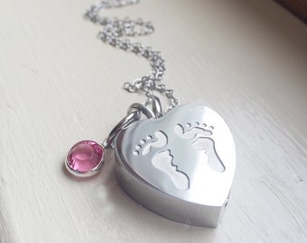 Infant Loss Cremation Urn Pendant Remembrance Memorial Necklace Birthstone Baby Footprint Necklace Cremains Double Sided Pendant