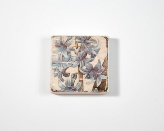 Bluebonnet Art Block, Art Blocks, Boho Art, Wood Printing, Wood Block Art, Blue Bonnet, Small Art, Vintage Art Print, Botanical Print