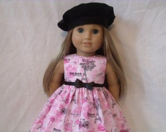 18 Inch Doll-American Girl Dress: Pretty in Pink Paris dress for Grace with or without beret
