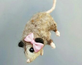 little possum, needle felted, soft sculpture, cute baby animal, baby possum, felt opossum, marsupila figurine, plush animal, woodland decor