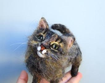 Felted cat sculpture, custom pet art, needle felted replica, soft sculpture, your cat art, pet loss gift,  memorial urn decor, MADE to ORDER