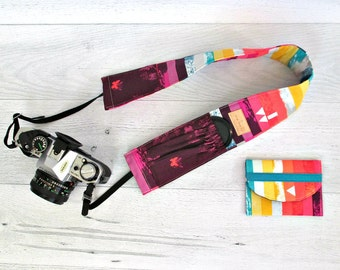 Rainbow Stripe Photographer Accessory Set. Camera Strap Cover and Memory Card Case Gift Set. DSLR Camera Strap Cover with Lens Pockets.