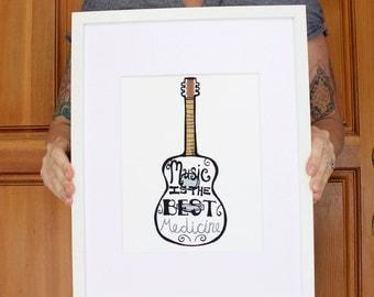 Music Is The Best Medicine - Art Print - Wall Art