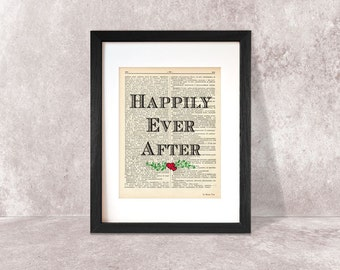 Happily ever after print-wedding print-quote on book page-rustic art print-Typography print-love print-wedding decor-by NATURA PICTA-DP028