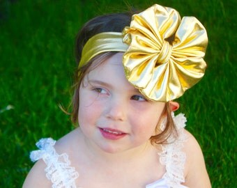 Gold Baby Bow Headband - Gold Floppy Bow - Messy Bow Head Wrap - Big Gold Bow