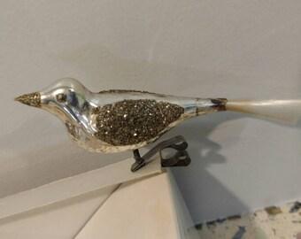 Clip On Bird Vintage Christmas Glass Ornament Silver Glitter