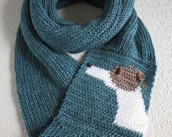 Greyhound Scarf. Glacier blue, knit infinity scarf with a fawn and white greyhound dog. Knitted whippet dog scarf