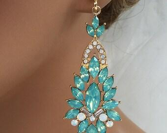Bridal jewelry, Bridal earrings, Wedding jewelry, wedding earrings, Mint green crystal earrings, Victorian earrings, Pacific Opal earrings