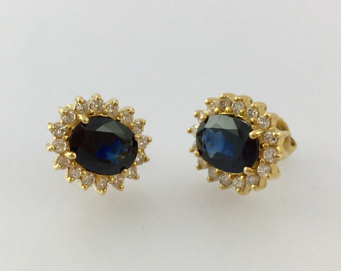 Featured listing image: Stunning Large 4cttw Sapphire and Diamond Earrings 18k Gold