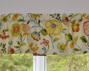 "Kitchen Valance . Mini Valance  8""x 52"" . Fairlawn Candy Mill Creek Fabrics . Handmade by Pretty Little Valances"