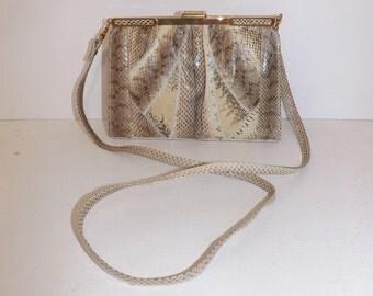 Vintage 1970s real snakeskin snake leather shoulder bag or clutch handbag cream grey brown