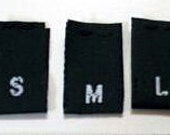1000 Black Woven Clothing Sewing Size Labels Tags S M L Small Medium Large
