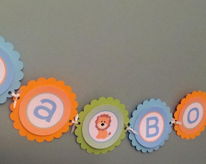 Jungle Banner - Blue, Green & Orange - It's a Boy Baby Shower Decoration Happy Birthday Party Celebration Garland Monkey Lion Elephant