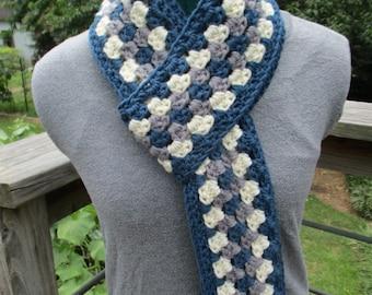 Crochet Granny Stripe Scarf - Crochet Men's Scarf - Crochet Women's Scarf - Rattlesnake Scarf - Grey, Windsor Blue, Cream