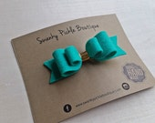Felt Hair Bows,Teal Gold,Hair bows for Girls,Hair Barrette,Baby Girl Headband,Hair bows for Toddler Girls,Bow Hair Clip,Teal Hair Bow