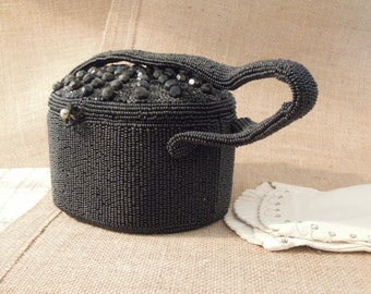 Vintage Black Beaded Purse / Black Beaded Box Handbag / Beaded Purse / Evening Bag / Box Purse