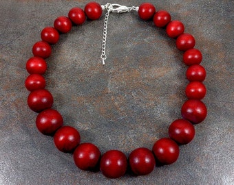 Wood Necklace, Red, Wooden Necklace, Red Bead Necklace, Chunky Necklace, Statement Necklace, Strand Necklace, Big Bead Necklace, Graduated