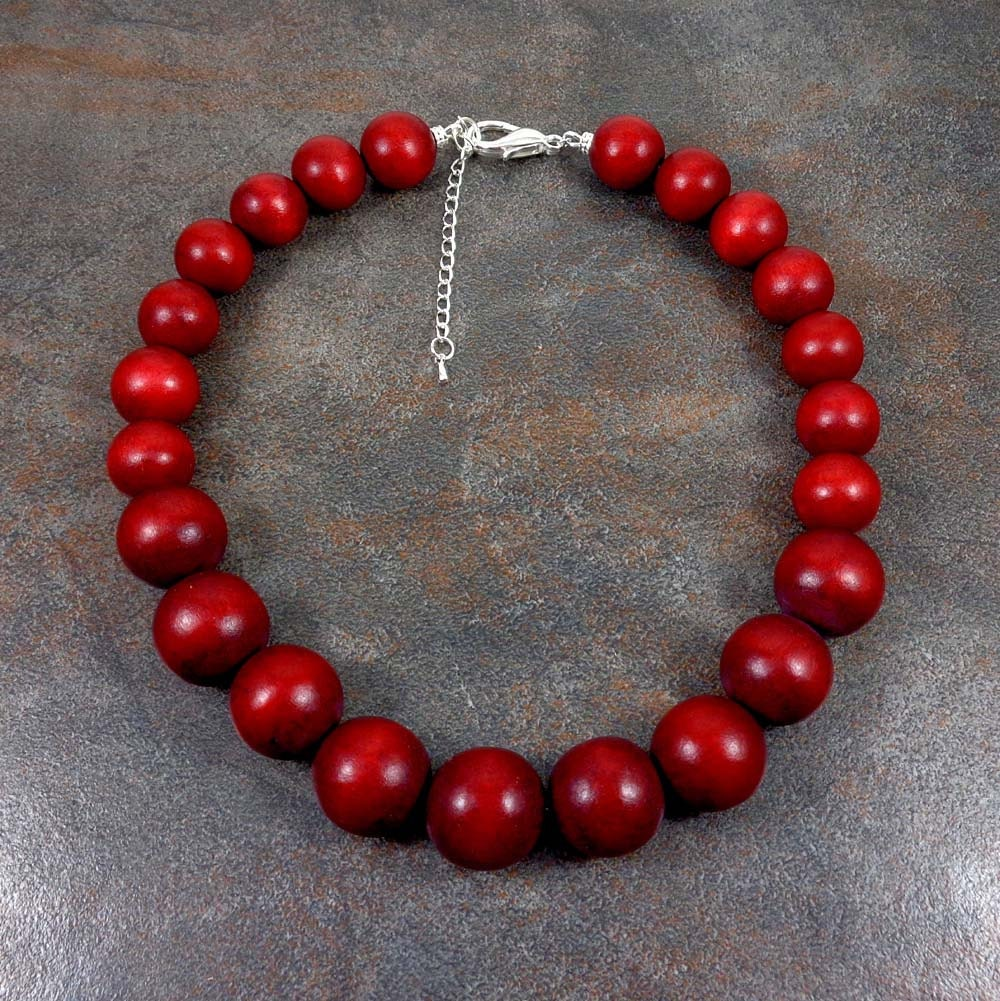 Necklace Beads: Wood Necklace Red Wooden Necklace Red Bead Necklace Chunky