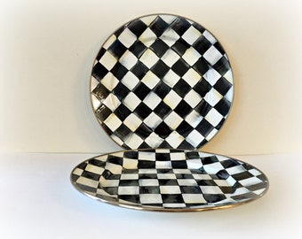 Mackenzie-Childs Enamel Black and White Check Charger Plates
