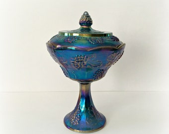 Iridescent Blue Carnival Glass Covered Compote Candy Dish
