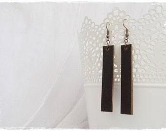 Leather Dangle Earrings, Leather Drop Earrings, Lightweight Brown Earrings, Bar Leather Earrings, Minimal Earrings, Rustic Leather Jewelry