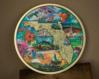Vintage FLORIDA Souvenir Tin Tray