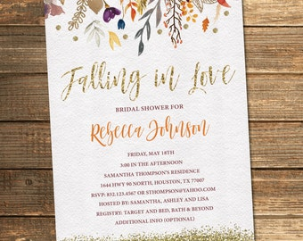 fall bridal shower invitation autumn bridal shower flowers watercolor floral gold