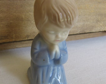 Praying Boy Figurine, Ceramic Boy, Small 3 Inch Kneeling Boy, Nursery Decor, Fine Art, Ceramic Home Decor